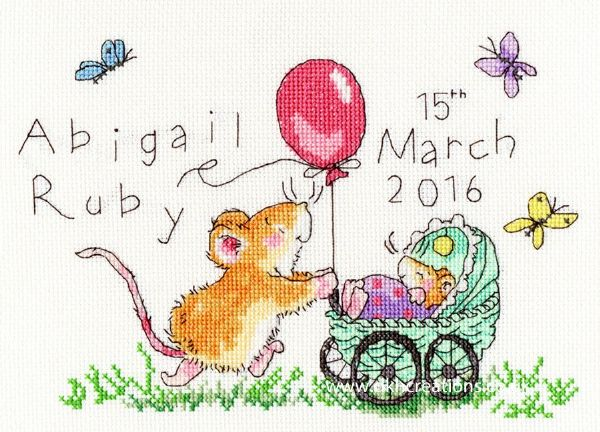Squeaky Wheels Birth Sampler Margaret Sherry Cross Stitch Kit
